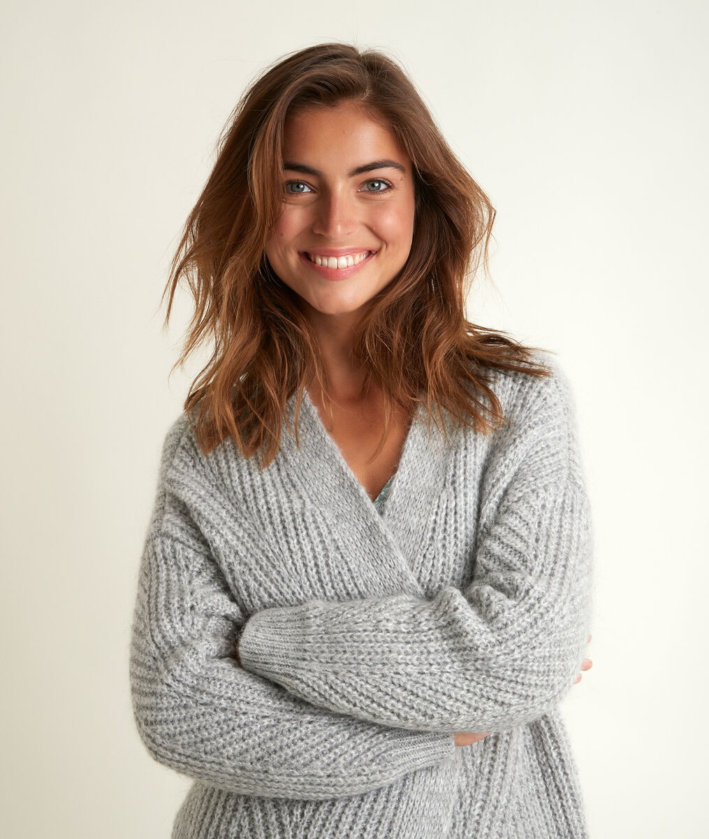 Rejane grey mohair blend cardigan PhotoZ | 1-2-3