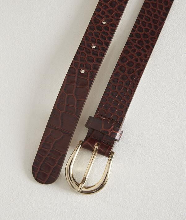 Karine ebony mock croc leather belt PhotoZ | 1-2-3