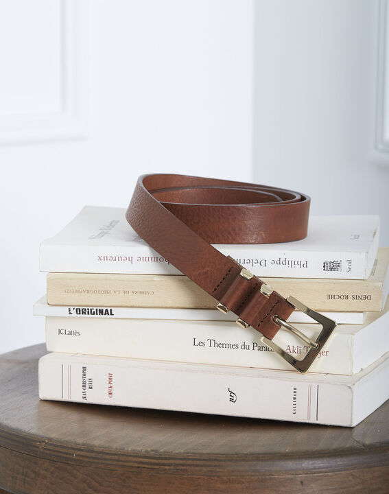 Kelynn brown leather belt with a square buckle PhotoZ | 1-2-3