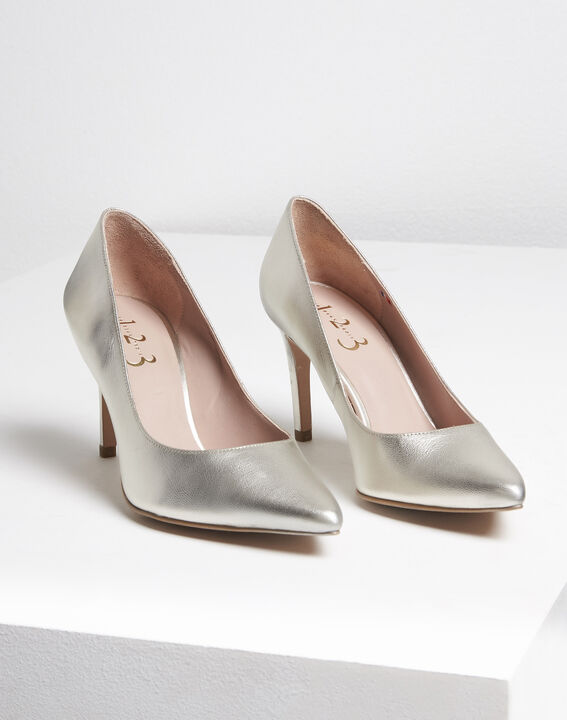 Kelly gold leather high heels (1) - Maison 123