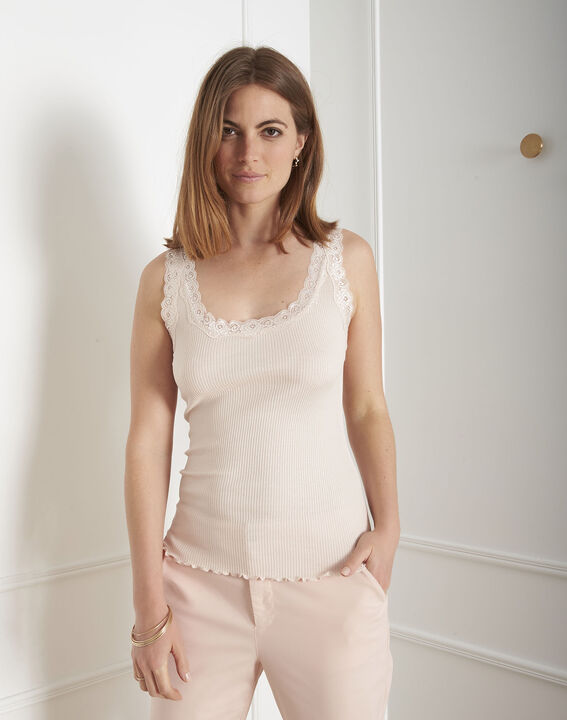 Guest nude silk and cotton tank top with lace neckline PhotoZ   1-2-3