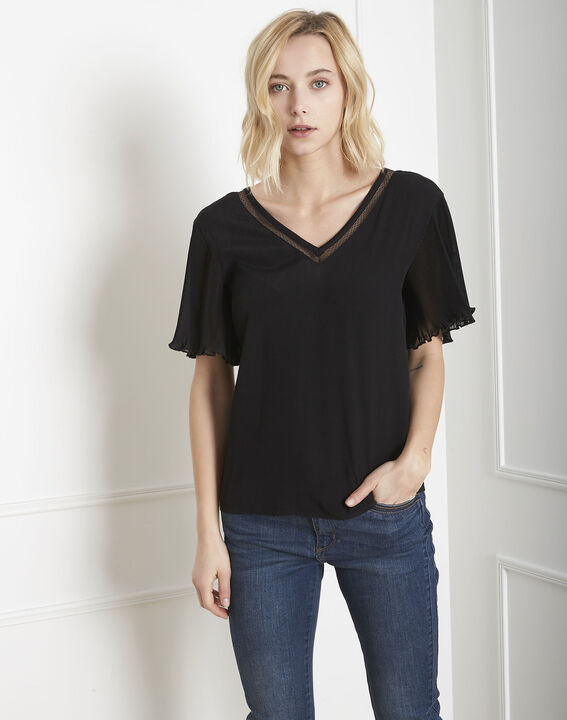 Victor black lace pleated blouse PhotoZ | 1-2-3