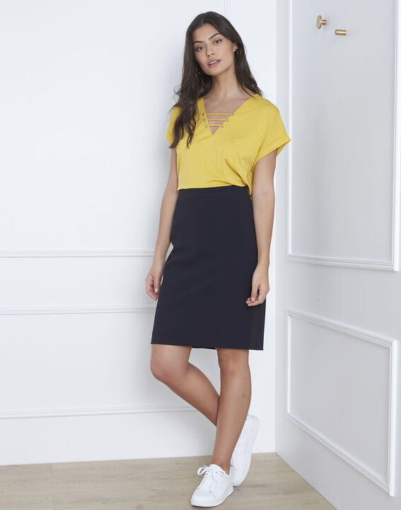 Fancy straight-cut navy skirt with microfibre side stripe (1) - Maison 123