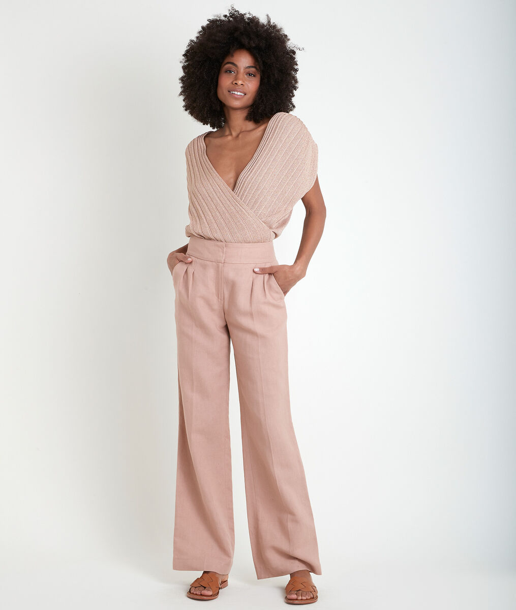 Galaxy pink wide-leg cotton and linen trousers PhotoZ | 1-2-3