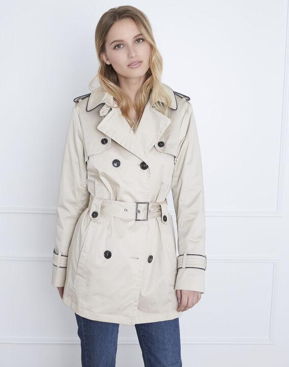Dorine short beige trench coat with contrasting bias (1) - Maison 123