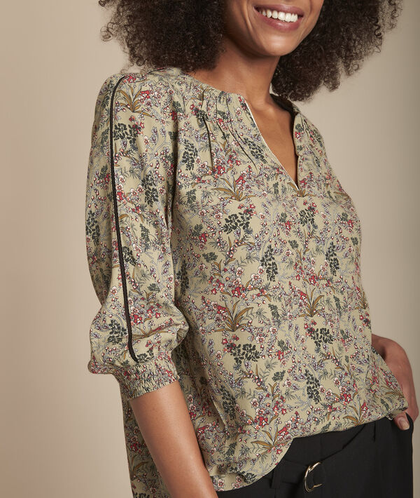 Mina khaki floral print blouse PhotoZ | 1-2-3