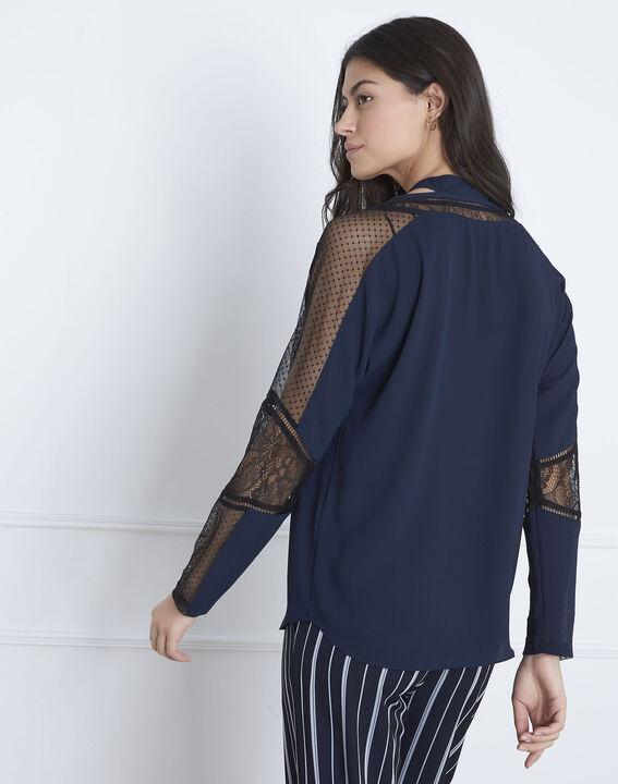 Verica navy lace tie blouse (4) - Maison 123