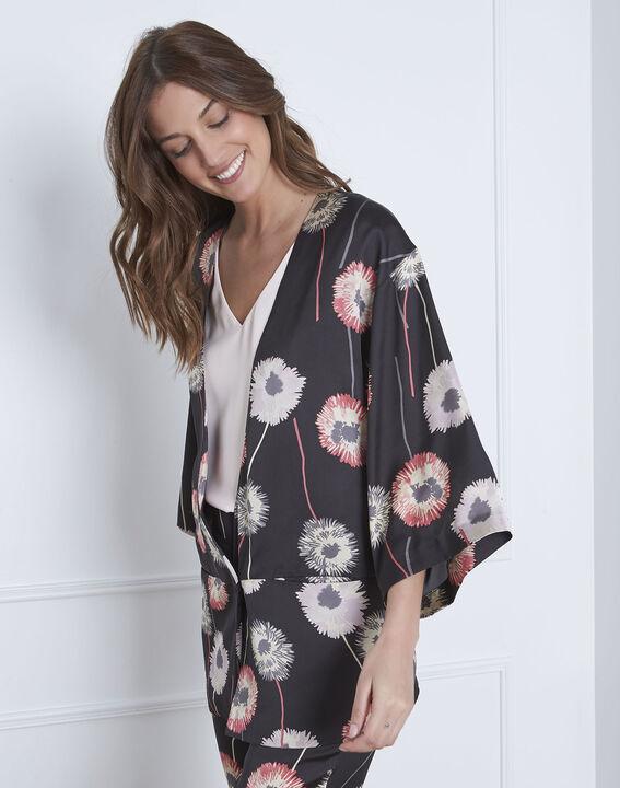 Flore satin-effect black floral print kimono PhotoZ | 1-2-3