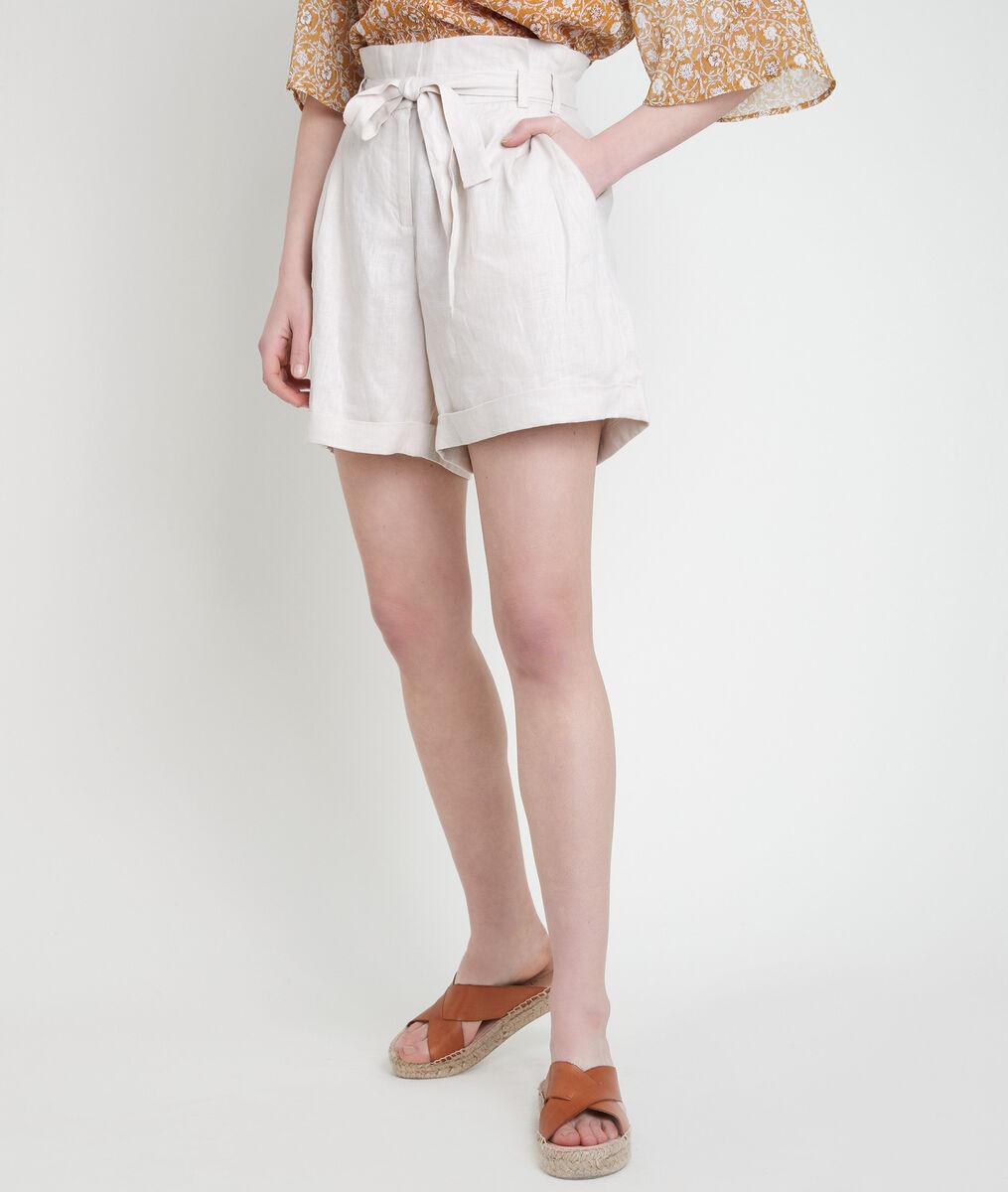 FARIEL beige certified linen shorts PhotoZ | 1-2-3