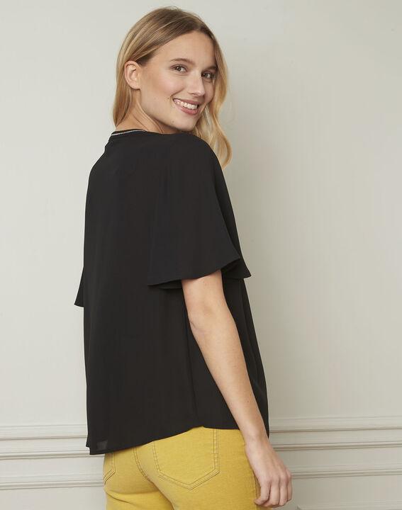 Vitali black blouse with pattern details (3) - Maison 123