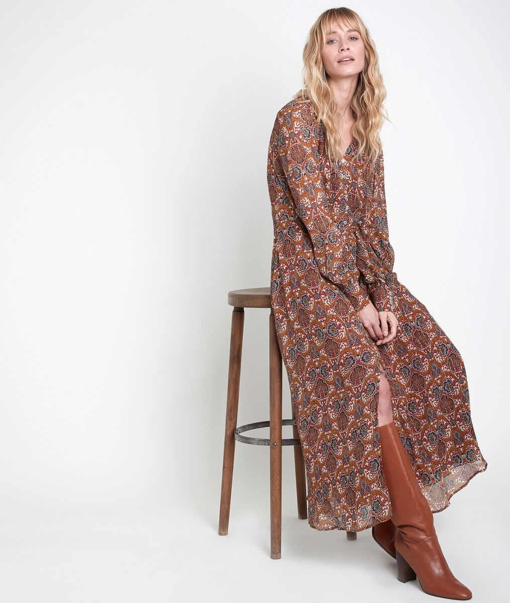 CARMEL camel-coloured maxi printed dress PhotoZ | 1-2-3