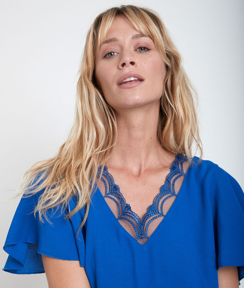 Divine Klein blue dual-fabric top PhotoZ | 1-2-3