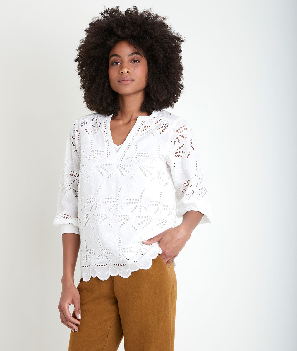 Tebene ecru embroidered organic cotton blouse PhotoZ | 1-2-3