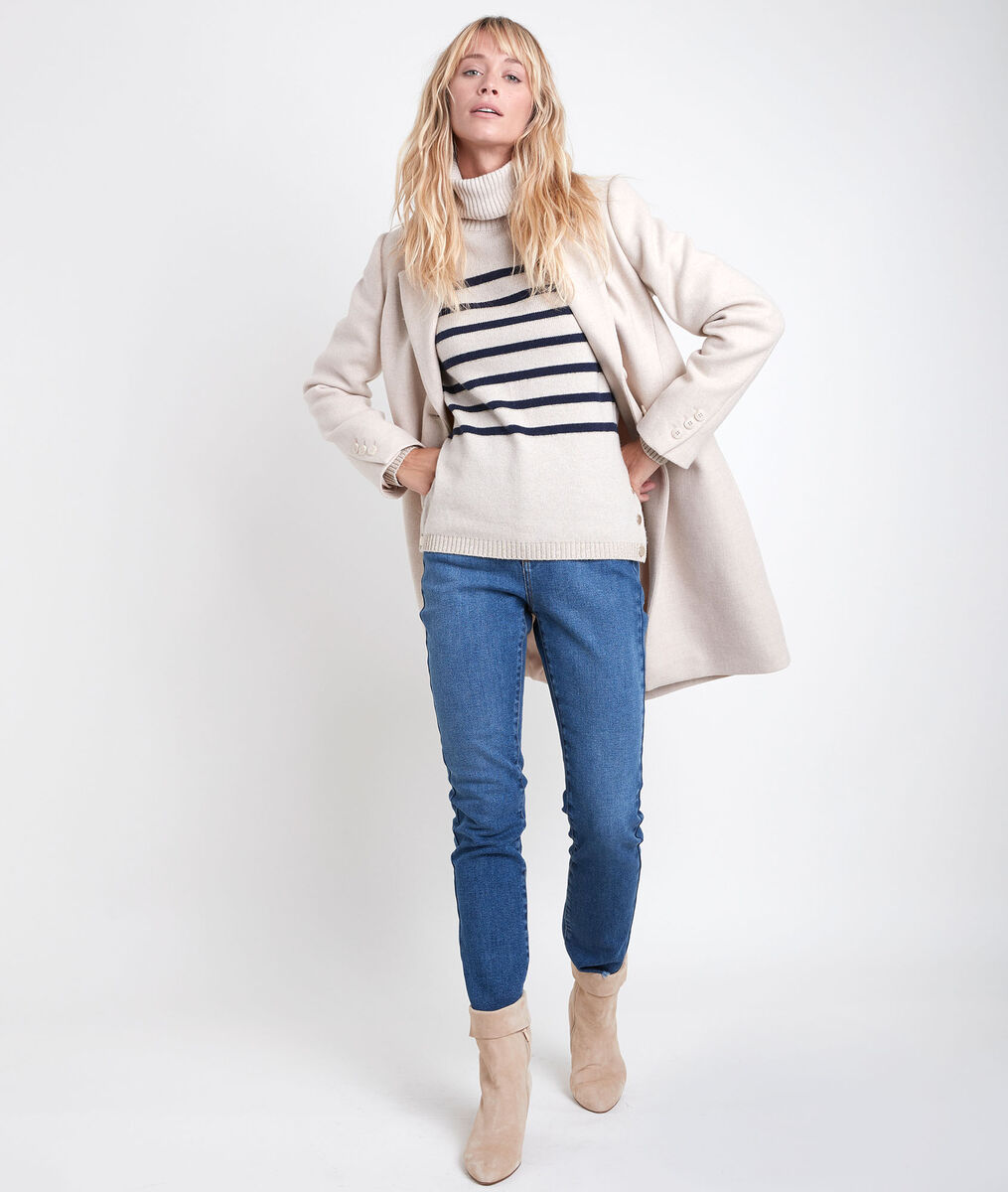 Plume straight cream wool coat PhotoZ | 1-2-3