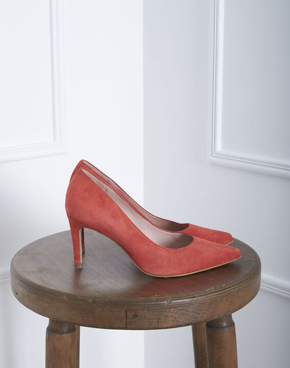 Kelly coral-coloured suede look high heels PhotoZ | 1-2-3