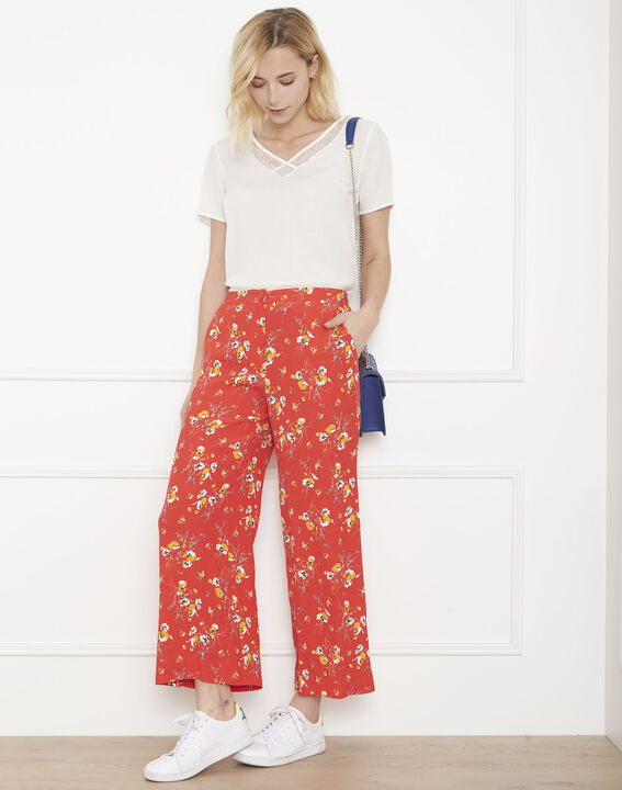 Gigi red loose-fitting floral print trousers PhotoZ | 1-2-3