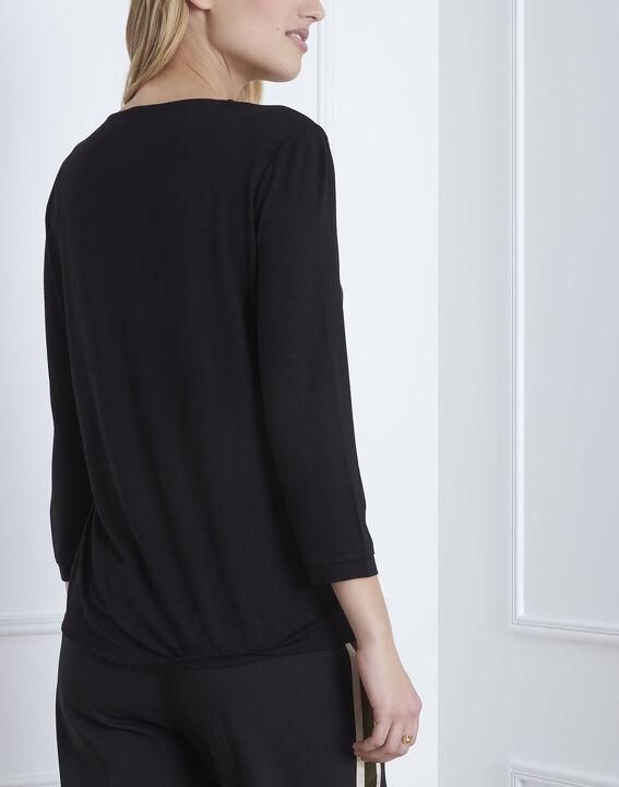 Black bi-material wrap around blouse (4) - Maison 123