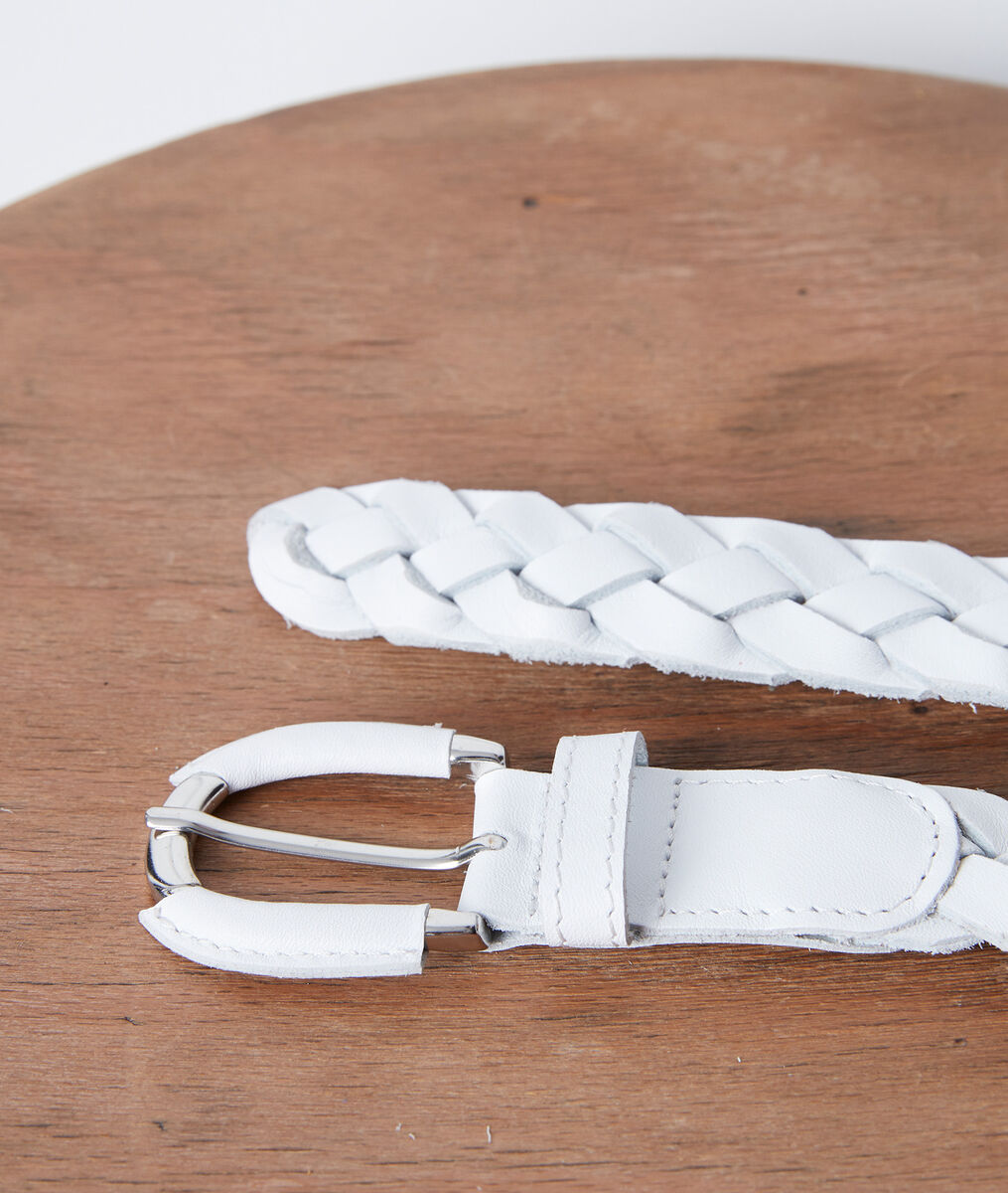 Swan white leather braid belt PhotoZ | 1-2-3