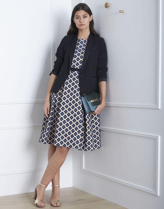Hanne navy jacquard printed dress PhotoZ | 1-2-3