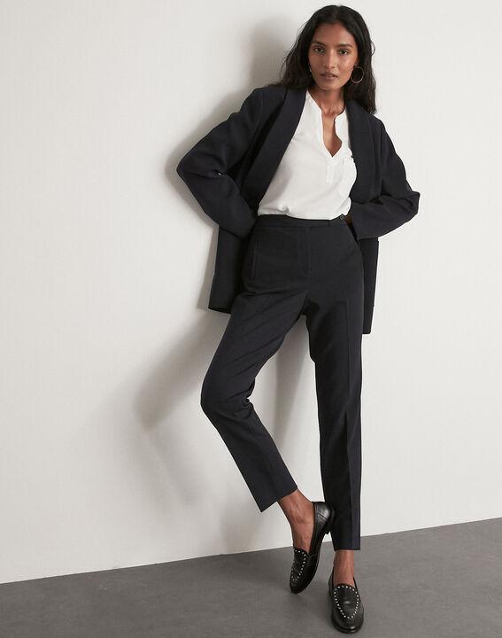 Lara navy microfibre cigarette trousers PhotoZ   1-2-3