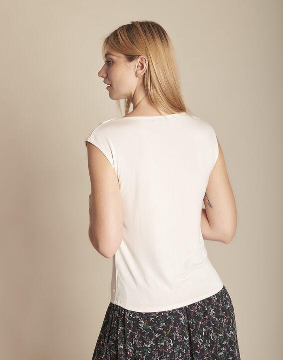 Pale rose bimaterial blouse with  Neptune V-neck (3) - Maison 123