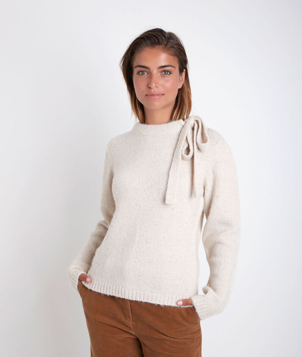 Rodger beige pullover with decorative collar PhotoZ | 1-2-3