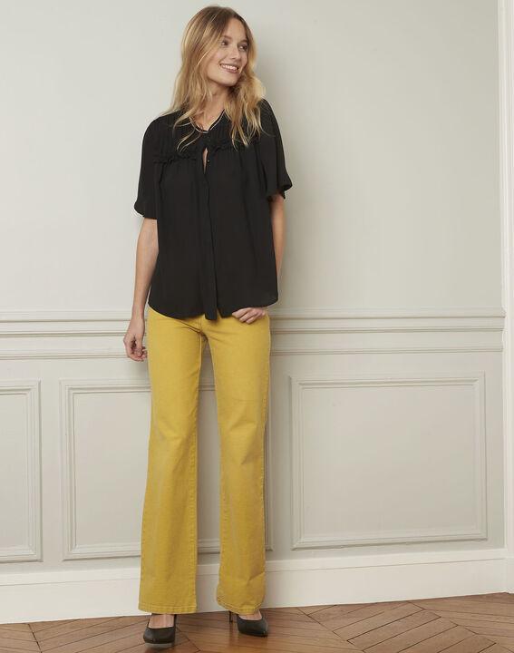 Vitali black blouse with pattern details (2) - Maison 123