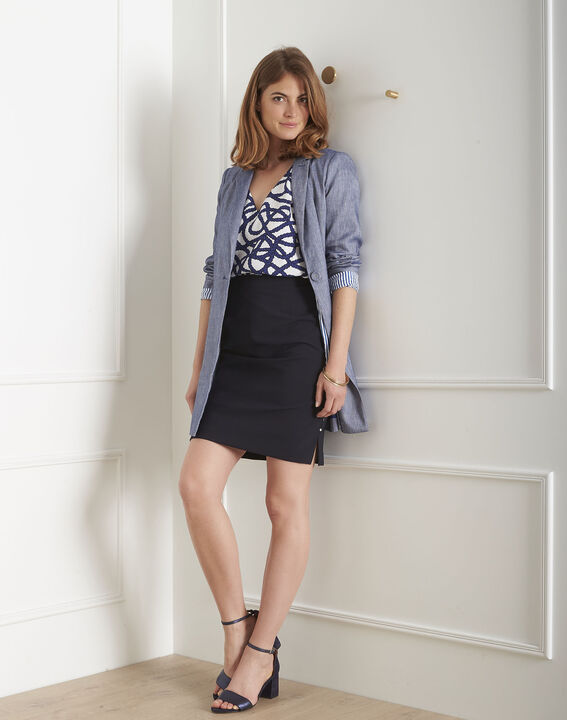 Alex navy straight microfibre skirt PhotoZ   1-2-3