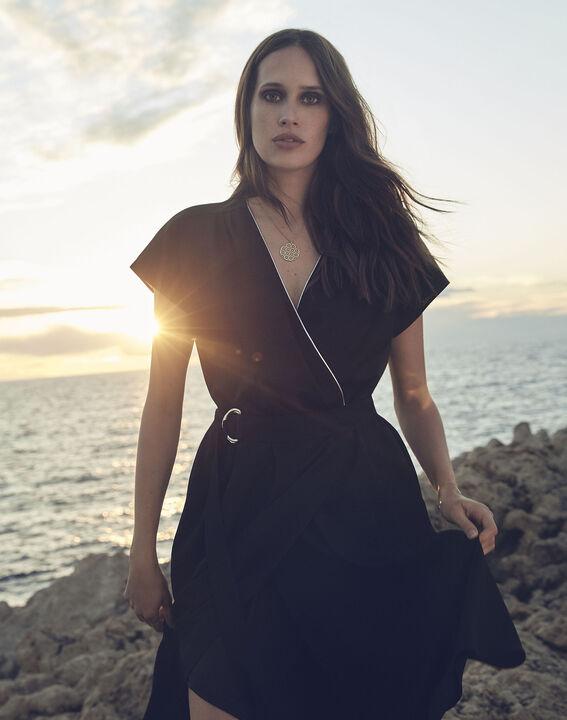 Hodda black asymmetric wrap dress (2) - Maison 123