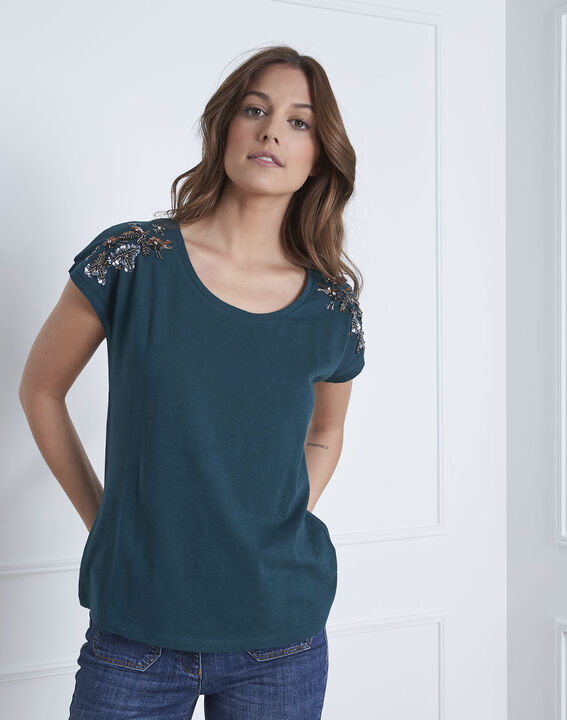 Paola dark green embroidered T-shirt (2) - Maison 123