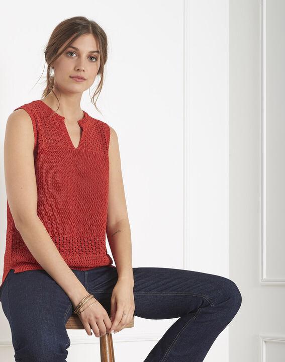 Albi red openwork crochet-style jumper PhotoZ | 1-2-3